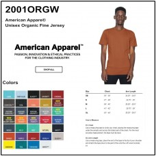 Personalize -American Apparel 2001ORGW - Unisex Organic Fine Jersey SS Tee