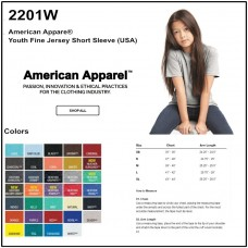 Personalize - American Apparel 2201W - Youth Fine Jersey Tee Shirt
