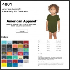Personalize - American Apparel 4001W - Infant Baby Bib One Piece