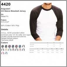 Personalize - Augusta 4420 - Adult Baseball Tee