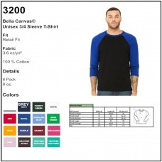 Personalize - Bella-Canvas 3200 - Unisex 3/4 Sleeve T-Shirt