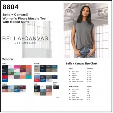 Personalize -Bella Canvas 8804 - Women's Flowy Muscle Tee With Rolled Cuff