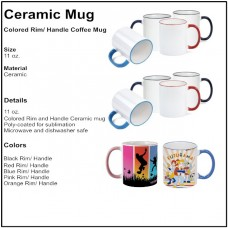 Personalize - Colored Rim and Handle Coffee Mugs