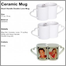 Personalize - Heart Handle Love Coffee Mugs (Pair)