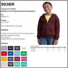 Personalize -Jerzees 993BR - NuBlend Youth Full-Zip Hooded Sweatshirt