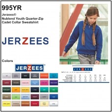 Personalize -Jerzees 995YR - NuBlend Youth Quarter-Zip Cadet Collar Sweatshirt