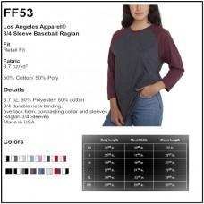 Personalize - Los Angeles Apparel FF53 - Unisex 3/4 Sleeve Raglan Tee