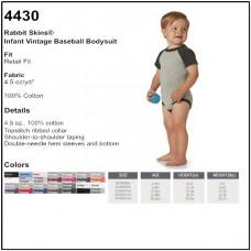 Personalize - Rabbit Skins 4430 - Infant Vintage Fine Jersey Baseball Bodysuit